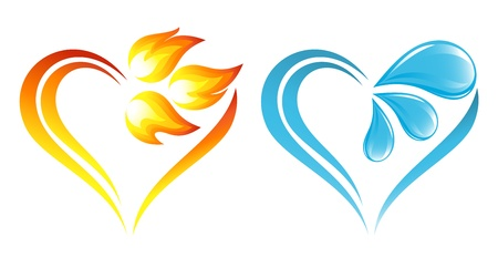 antipode: Abstract fire flames and water icons with heart element