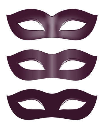 fasching: Carnival masks in black Illustration