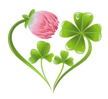 클로버 잎과 꽃과 하트 아이콘