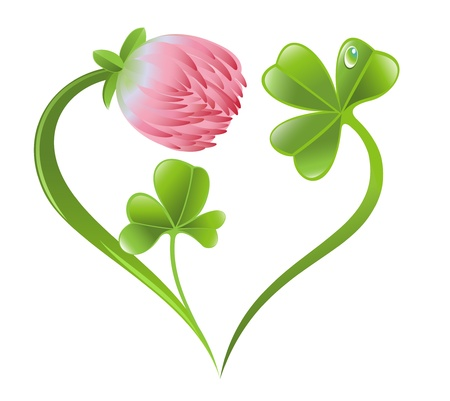 Heart icon with clover leaf and blossom Stock Vector - 17541413