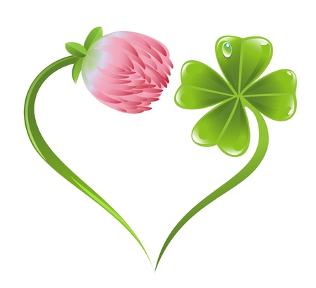 Heart icon with clover leaf and blossom Stock Vector - 17541412