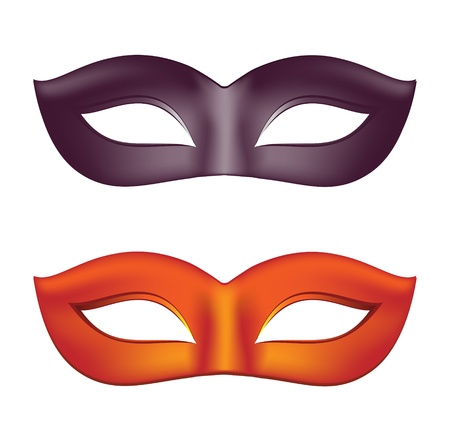 fasching: Carnival masks in black and red