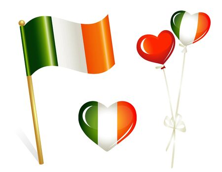Ireland country flag, heart and balloons in irish colors Vector