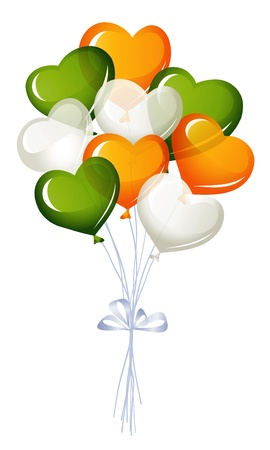 Heart balloons in irish colors Vector