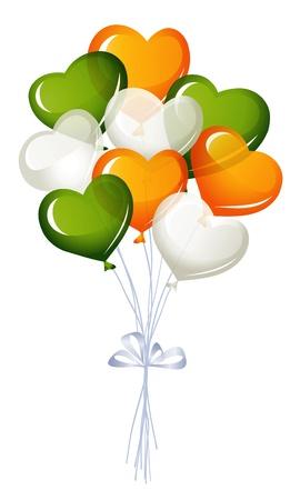 irish pride: Heart balloons in irish colors Illustration