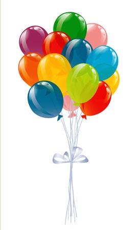 Flying balloons isolated on white Vettoriali