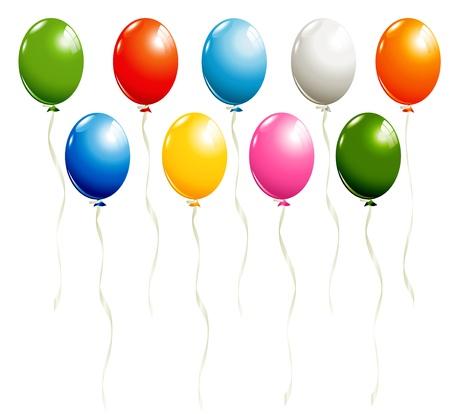 Set van ballonnen geïsoleerd op wit Stock Illustratie
