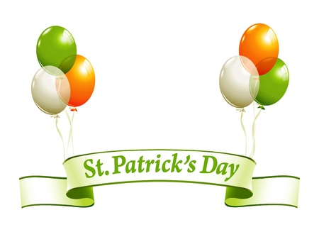 patrick background: St.Patricks Day banner with balloons in irish colors Illustration