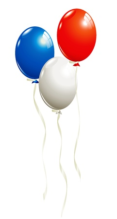 Balloons in white, blue and red Vector