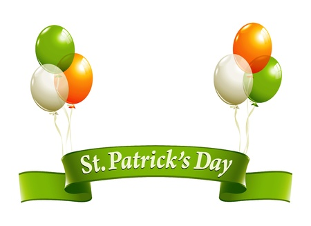 St.Patricks Day banner with balloons in irish colors Vector
