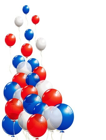 Balloons in white, blue and red