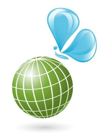 ahorrar agua: Globo con el agua mariposa