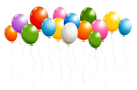 Shiny balloons border isolated on white Ilustracja
