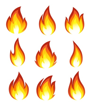 gas flame: Collection of fire icons
