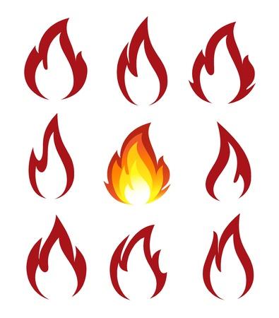 gas flame: Collezione di icone fuoco