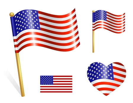 Set of Country USA flag icons Stock Vector - 19134870
