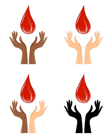 Hands and blood drop, set of graphics Stock Vector - 19991404
