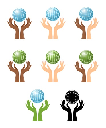 Hands and globe, set of graphics Vector