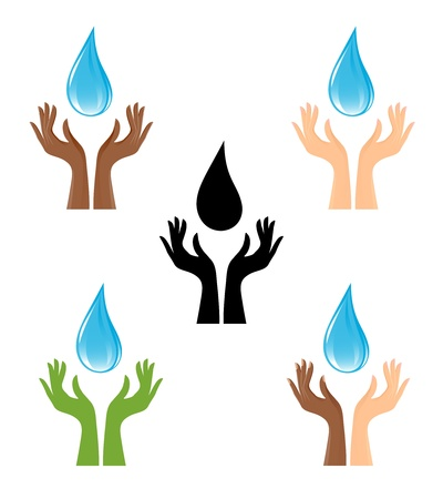 hand water: Silhouette of water-drop and hands Illustration