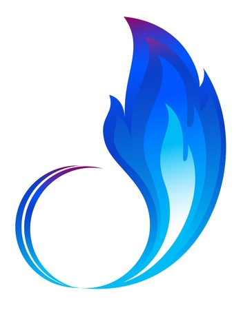 Abstract blue fire flames icon