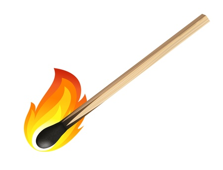 matchstick: Match isolated on white background Illustration