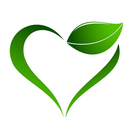 clean heart: Abstract plant icon with heart element