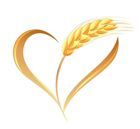 Abstract tarwe oren pictogram met hart element