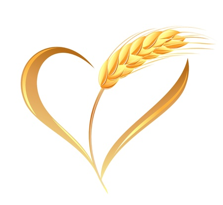 Abstract wheat ears icon with heart element Çizim