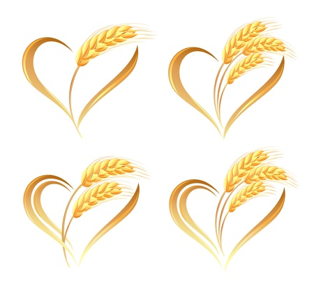 Abstract wheat ears icons with heart element Vettoriali