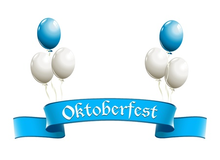 Oktoberfest banner with balloons in traditional colors of Bavaria Stock Vector - 21319675