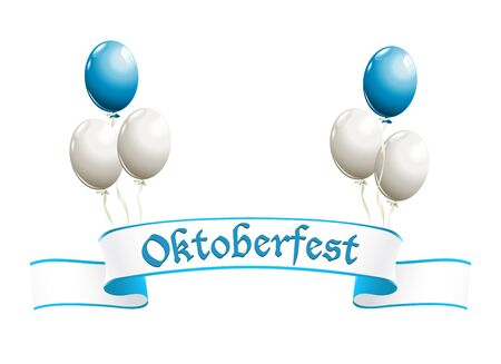 oktober: Oktoberfest banner with balloons in traditional colors of Bavaria Illustration