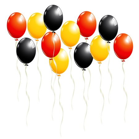 Set of balloons in black, red and gold, in Germany national colors Vector