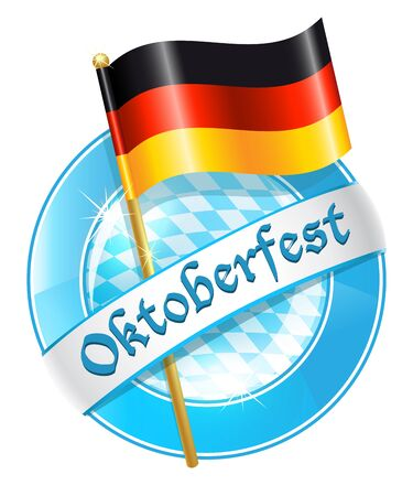 satin round: Oktoberfest round banner with Germany national flag