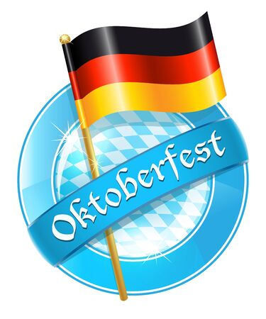 Oktoberfest round banner with Germany national flag Vector