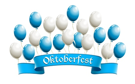 Oktoberfest banner with balloons in traditional colors of Bavaria Vector