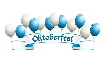 Bandera de Oktoberfest con globos en los colores tradicionales de Baviera Ilustración de vector