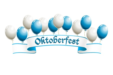 Oktoberfest banner with balloons in traditional colors of Bavaria