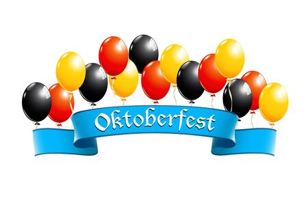 Oktoberfest banner with balloons in national colors of Germany Vector