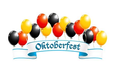 ドイツの国民色の風船でオクトーバーフェスト バナー