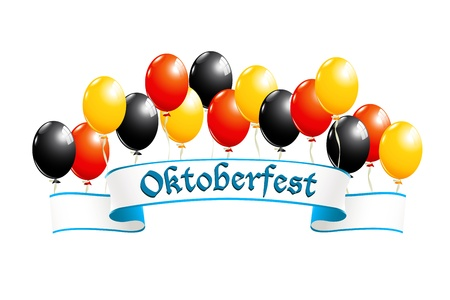 oktober: Oktoberfest banner with balloons in national colors of Germany