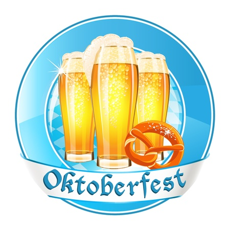 Oktoberfest round banner with beer glasses and pretzel Vector
