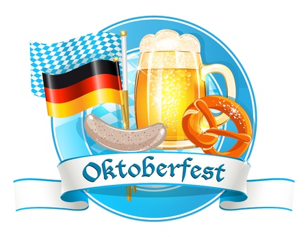 weisswurst: Oktoberfest celebration card Illustration