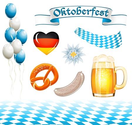 weisswurst: Set of Oktoberfest design elements