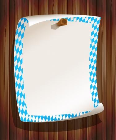 empty frame: Paper board in bavarian colors on wood background Illustration