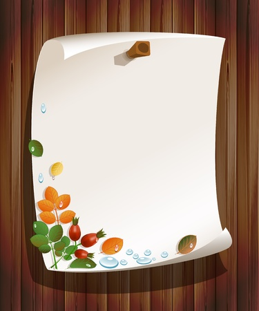 Autumn leaves with rose-hips and paper board on wood background Vector
