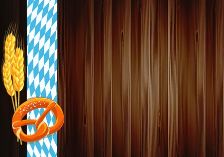 Oktoberfest celebration design with old wood texture Vector