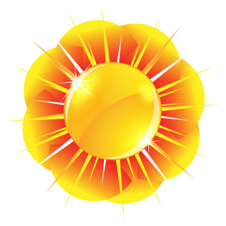 Glossy sun button Stock Vector - 22678295