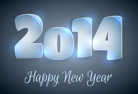 행복 한 새 해 2014 인사말 카드 일러스트