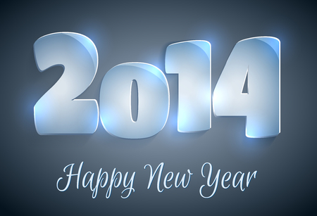 Happy New Year 2014 greeting card Vettoriali