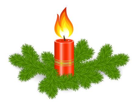 Bougie avec la branche de sapin, décoration de Noël